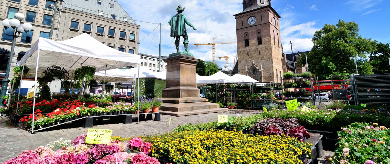 Wetterschutz auf Blumenmarkt